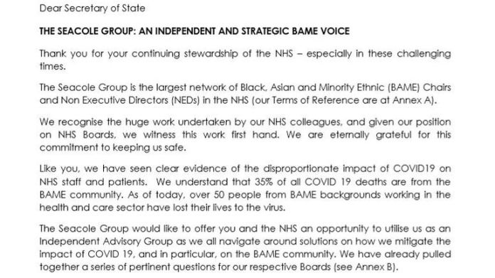 The letter sent by the Seacole group offering assistance as an independent advisory group