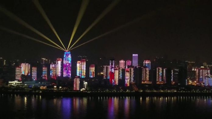 Light show as Wuhan opens up after being closed
