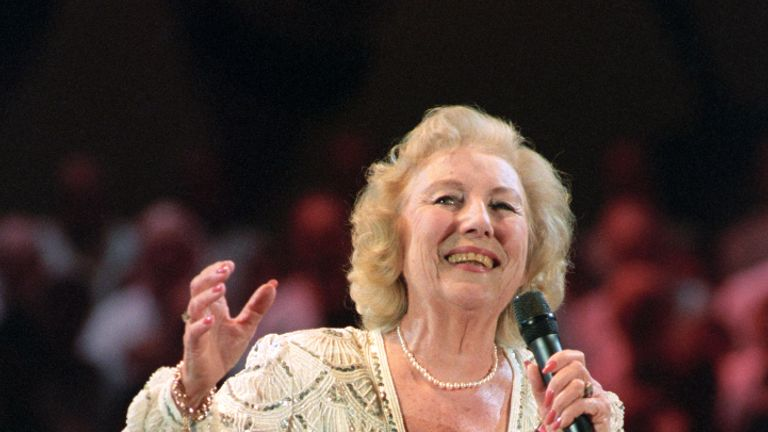 Dame Vera Lynn singing during the VE Day 50th Anniversary celebration in 1995