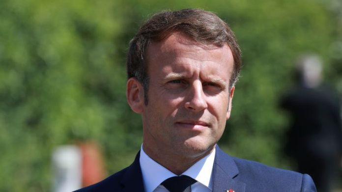 French President Emmanuel Macron arrives to visit a factory of the manufacturer Valeo in Etaples, near Le Touquet, in the north of France on May 26, 2020 as part of the launch of a rescue plan for the French automobile industry.  (Photo by Ludovic MARIN / POOL / AFP) (Photo by LUDOVIC MARIN / POOL / AFP via Getty Images)