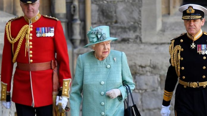 Queen Elizabeth II during a ceremony at Windsor Castle to mark her official birthday.