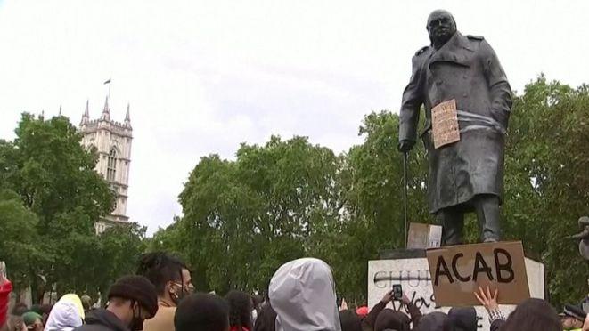 'Churchill was a racist' written on statue