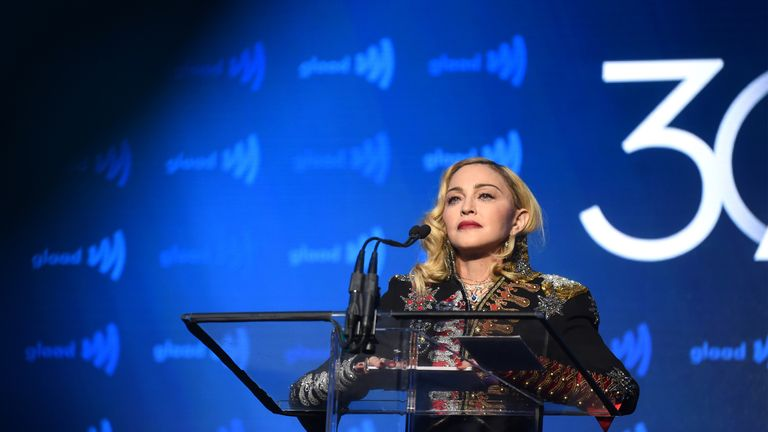 NEW YORK, NEW YORK - MAY 04: Madonna speaks onstage during the 30th Annual GLAAD Media Awards New York at New York Hilton Midtown on May 04, 2019 in New York City. (Photo by Jamie McCarthy/Getty Images for GLAAD)