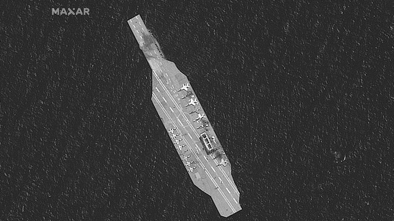 Iranian mockup aircarft carrier in the Strait of Hormuz. Pic: Maxar Technologies/Reuters