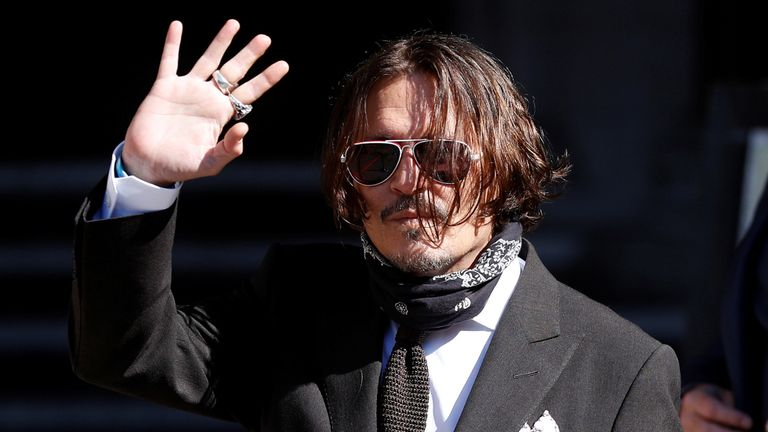 Actor Johnny Depp arrives at the High Court in London, Britain July 10, 2020. REUTERS/Peter Nicholls