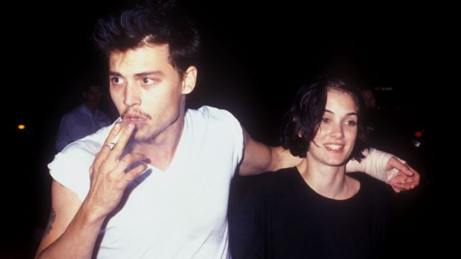 Johnny Depp and Winona Ryder in Los Angeles, California in 1990