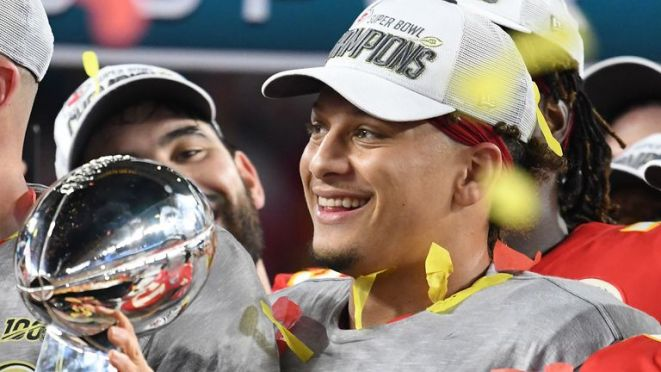 Mahomes celebrates after winning the Super Bowl in February