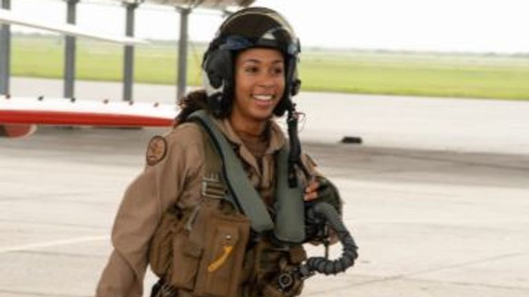 The US Navy has welcomed its first Black female Tactical Aircraft pilot - Lt. j.g. Madeline Swegle. Pic: US Navy