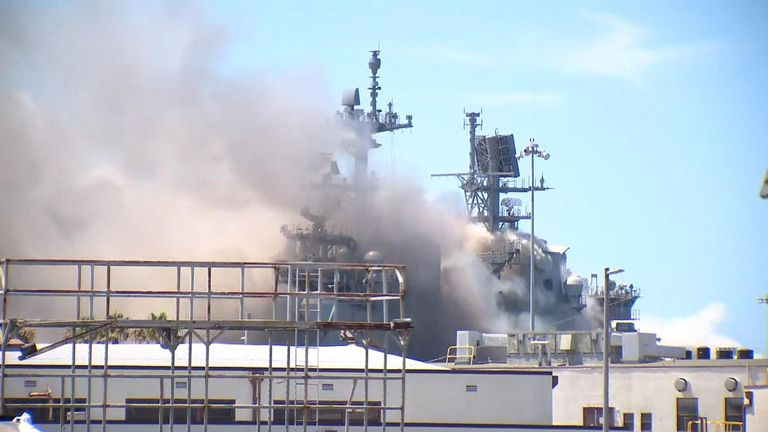 An explosion was followed by a fire and lots of smoke on the ship