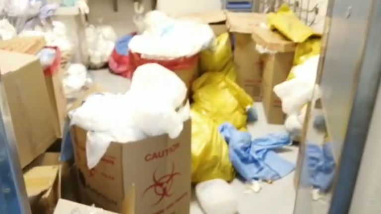 Medical waste spilled out of storerooms at Livingstone Hospital