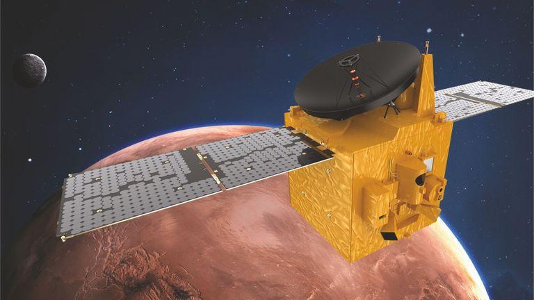 Depiction of the UAE satellite over Mars. Image: Emirates Mission to Mars