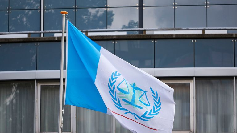 THE HAGUE, NETHERLANDS - AUGUST 18: The flag outside the Lebanon Tribunal on August 18, 2020 in The Hague, Netherlands. The Special Tribunal for Lebanon must render its verdict on the trial of four men accused of participating in the 2005 assassination of former Lebanese Prime Minister Rafic Hariri. (Photo by Pierre Crom/Getty Images)