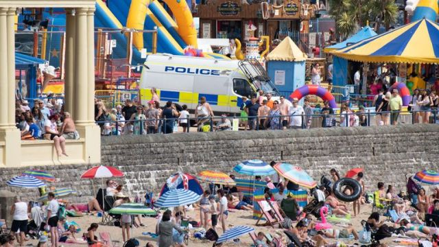 A police van on the promenade as Barry Island gets congested with beachgoers