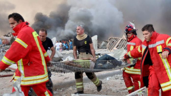 Injured man treated after explosion in Beirut
