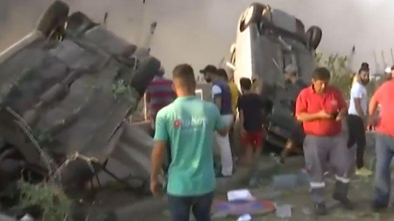 Cars upturned after Beirut explosion