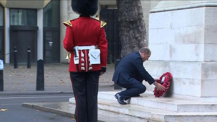 Secretary of Defense Ben Wallace lays a wreath at the Whitehall Cenotaph