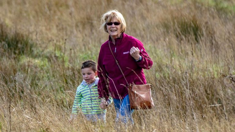 Ann Frodsham is seen with her grandson Thomas before lockdown rules were imposed in Wigan