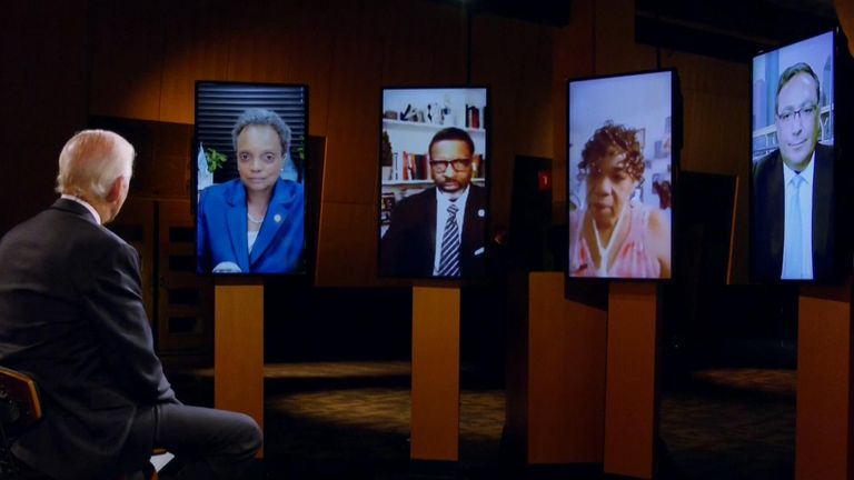 Joe Biden hosted a discussion on race relations at the virtual convention. Pic: DNC