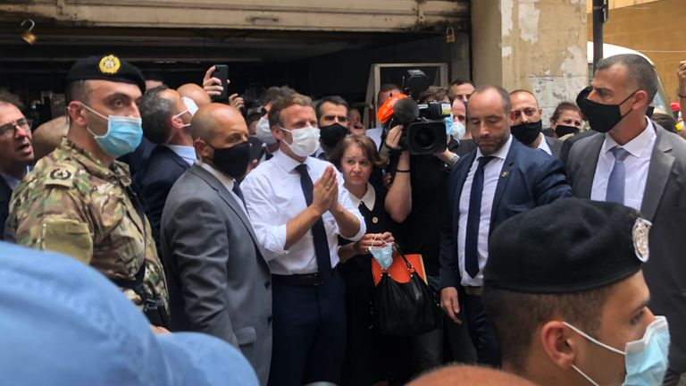 The French president was mobbed on the streets of Beirut