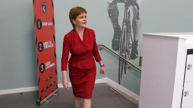 First Minister Nicola Sturgeon visits West Calder High School in West Lothian to meet staff and see preparations for the new school term.