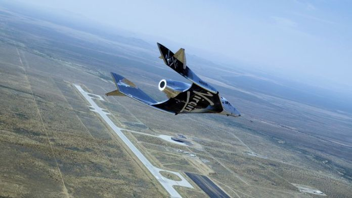 Virgin's SpaceshipTwo hopes to take passengers to the edge of space soon. Pic: Galactic Virgo