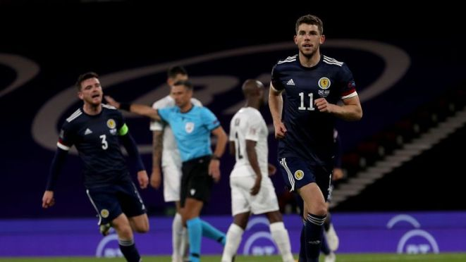 GLASGOW, SCOTLAND - SEPTEMBER 04:  Ryan Christie of Scotland celebrates after scoring from the penalty spot during the UEFA Nations League group stage match between Scotland and Israel at Hampden Park National Stadium on September 04, 2020 in Glasgow, Scotland. (Photo by Ian MacNicol/Getty Images)