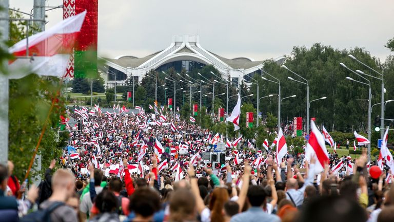 Tens of thousands of demonstrators turned out on Sunday