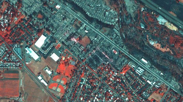 Satellite image shows destroyed homes at Mountain View Estates in Talent, Oregon