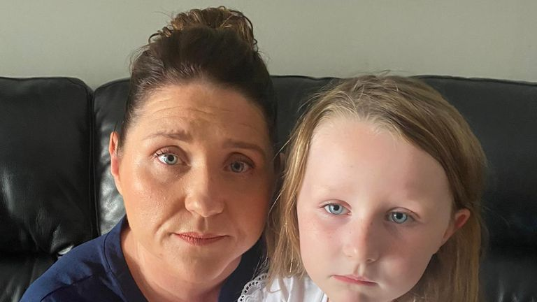 Evelyn Walsh and her daughter, six, from north London