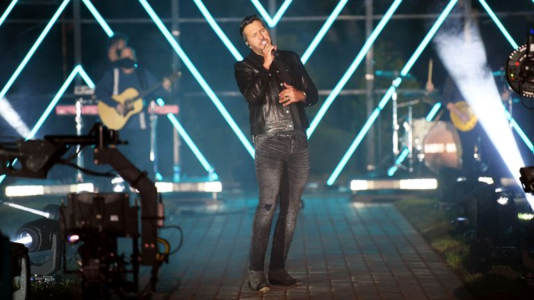 Luke Bryan performs at the Sycamore Barn in Arrington, Tennessee for the 2020 CMT Awards. Pic: Jason Kempin/CMT2020/Getty Images for CMT