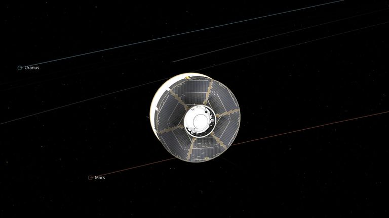 This illustration of the Mars 2020 spacecraft in interplanetary space was generated using imagery from NASA's Eyes on the Solar System. The image is from the mission's midway point between Earth and Mars. Credit: NASA/JPL-Caltech