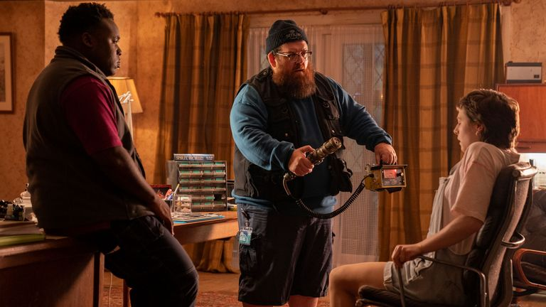 Nick Frost, Samson Kayo and Emma D'Arcy in Truth seekers. Pic: Prime Video