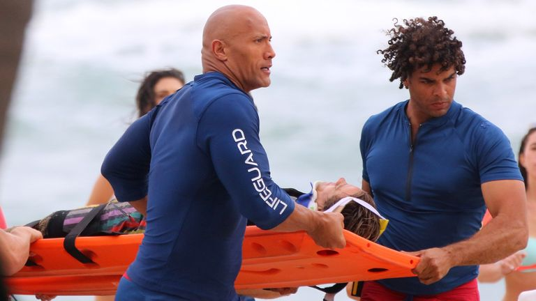 "Dwayne ""The Rock"" Johnson is sighted on the film set of ""Baywatch"" on February 23, 2016 in Deerfield Beach, Florida. (Photo by Carlos Marino/GC Images)"