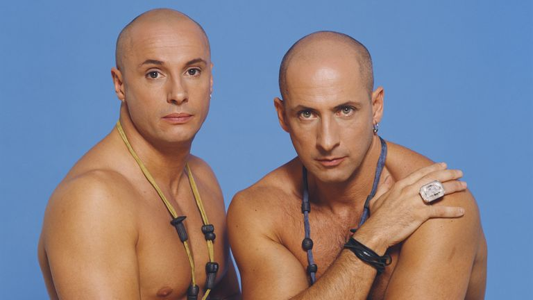 British pop group Right Said Fred, circa 1992. Left to right: Fred Fairbrass and Richard Fairbrass