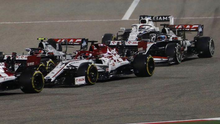 Haas F1's French driver Romain Grosjean (R) driving before the crash