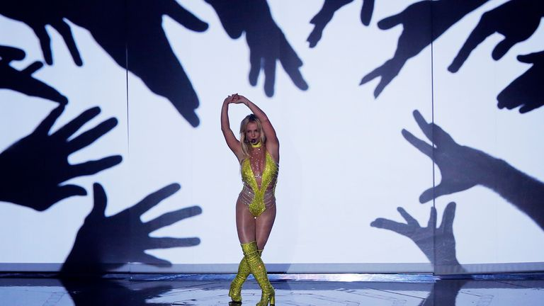 Britney Spears performs during the 2016 MTV Video Music Awards in New York