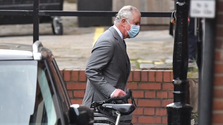 The Prince of Wales arriving at the King Edward VII Hospital in London where the Duke of Edinburgh was admitted on Tuesday evening as a precautionary measure after feeling unwell. Picture date: Saturday February 20, 2021.