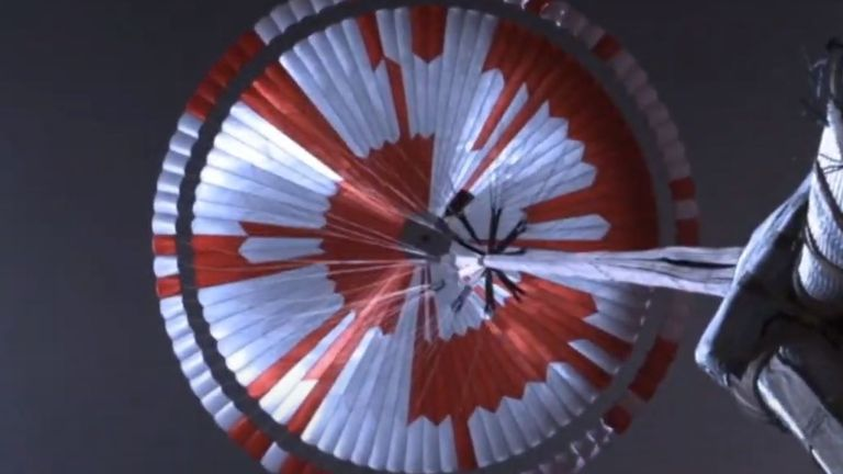 The parachute inflation was up