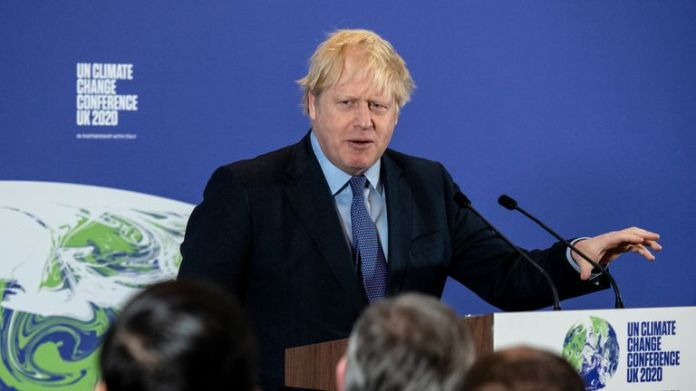 The Prime Minister Boris Johnson at the launch of the next COP26 UN Climate Summit at the Science Museum, London.
