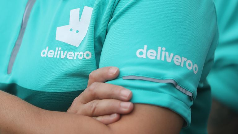 Stock photo of Deliveroo riders protesting about violent attacks on them during a demonstration. Picture date: Wednesday September 2, 2020.