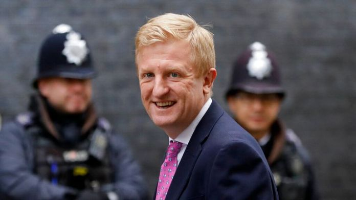 Britain's Secretary of State for Digital, Culture, Media and Sport Oliver Dowden arrives in Downing Street in London, Wednesday, Dec. 2, 2020. U.K. Health Secretary Matt Hancock on Wednesday thanked scientists from Pfizer and BioNTech after the approval of their COVID-19 vaccine for emergency use by the country's drugs regulator. Speaking earlier Hancock gave details of how the vaccine would be distributed from the beginning of next week. (AP Photo/Kirsty Wigglesworth)