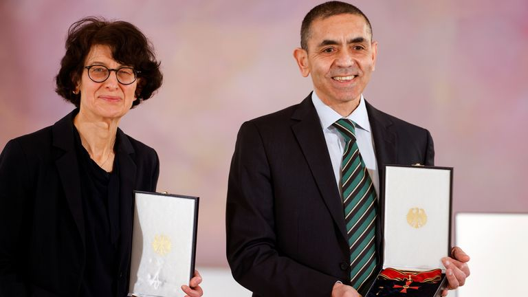 German scientists, CEOs and founders of BioNTech, Ozlem Tureci and Ugur Sahin received the Order of Merit in Berlin