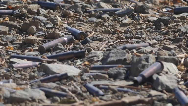 Bullets are scattered everywhere along the roadside
