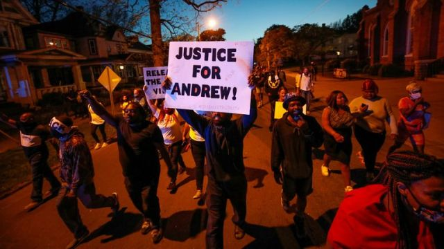 People taken part in a protest march following Andrew Brown Jr's death in Elizabeth City, North Carolina