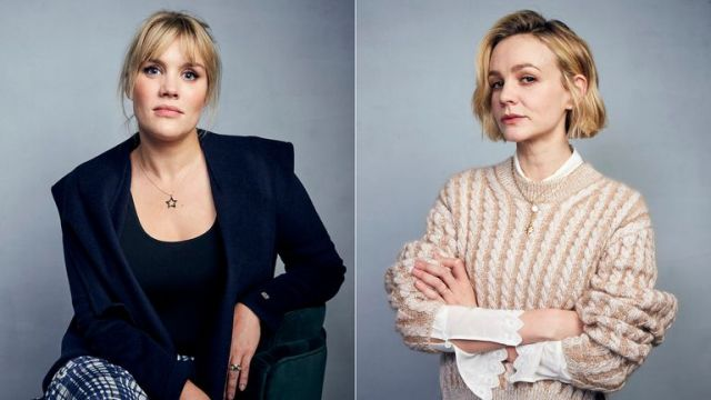 Writer/director Emerald Fennell, left, and actress Carey Mulligan promote their film Promising Young Woman during the Sundance Film Festival in Utah in January 2020. Pic: AP