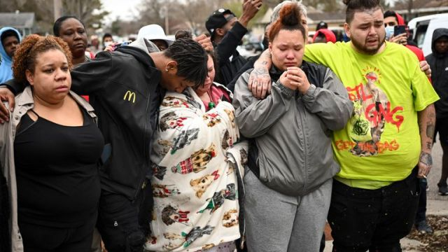 Family and friends of Daunte Wright. Pic: AP