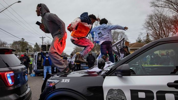 Police cars were vandalized during protests
