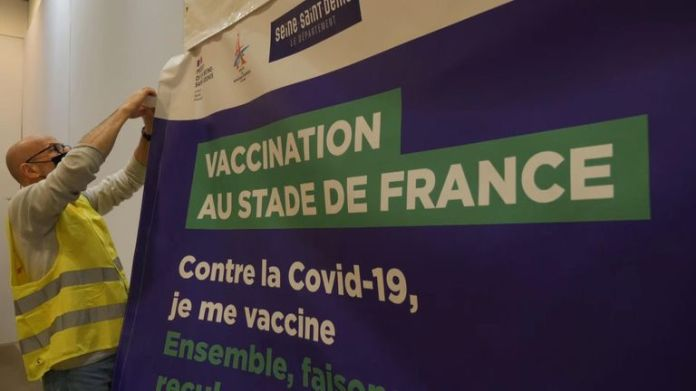 Parts of the Stade de France are being converted into a vaccination center