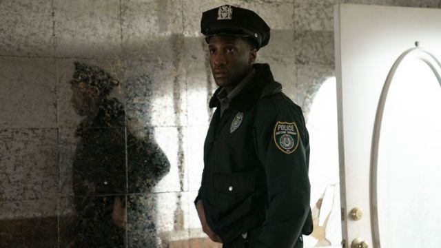 Justin Hurtt-Dunkley as Officer Ronald Trammel in new Kate Winslet drama Mare of Easttown. Pic: Sky UK/HBO