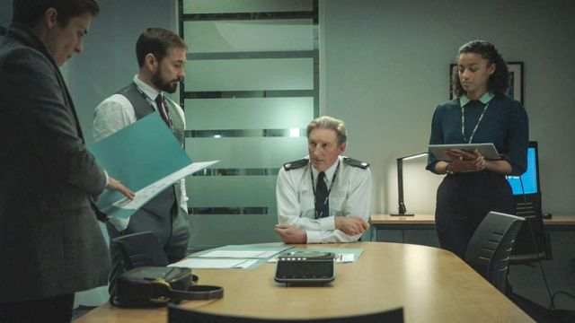Kate Fleming, Steve Arnott, Ted Hastings and Chloe Bishop in Line Of Duty. Pic: BBC/World Productions/Steffan Hill